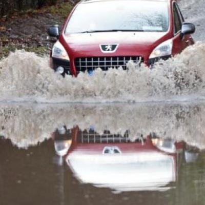 Car in flood